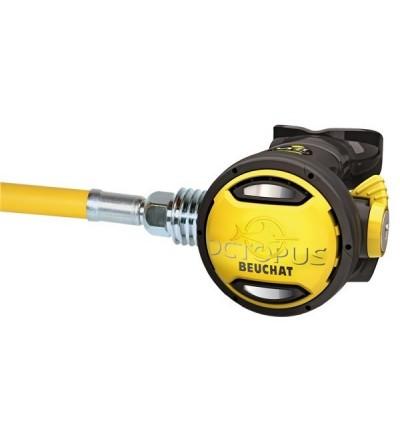 Détenteur secours Octopus compensé compatible eau froide Beuchat VRT 2 avec flexible jaune de 92,5cm et venturi réglable