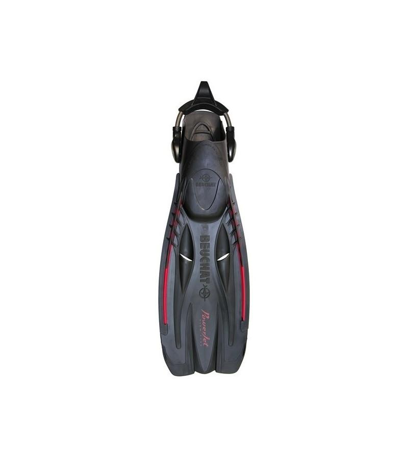 Palmes réglables de plongée à tuyère Beuchat Powerjet avec sangles à ressorts - rigidité ferme - noir