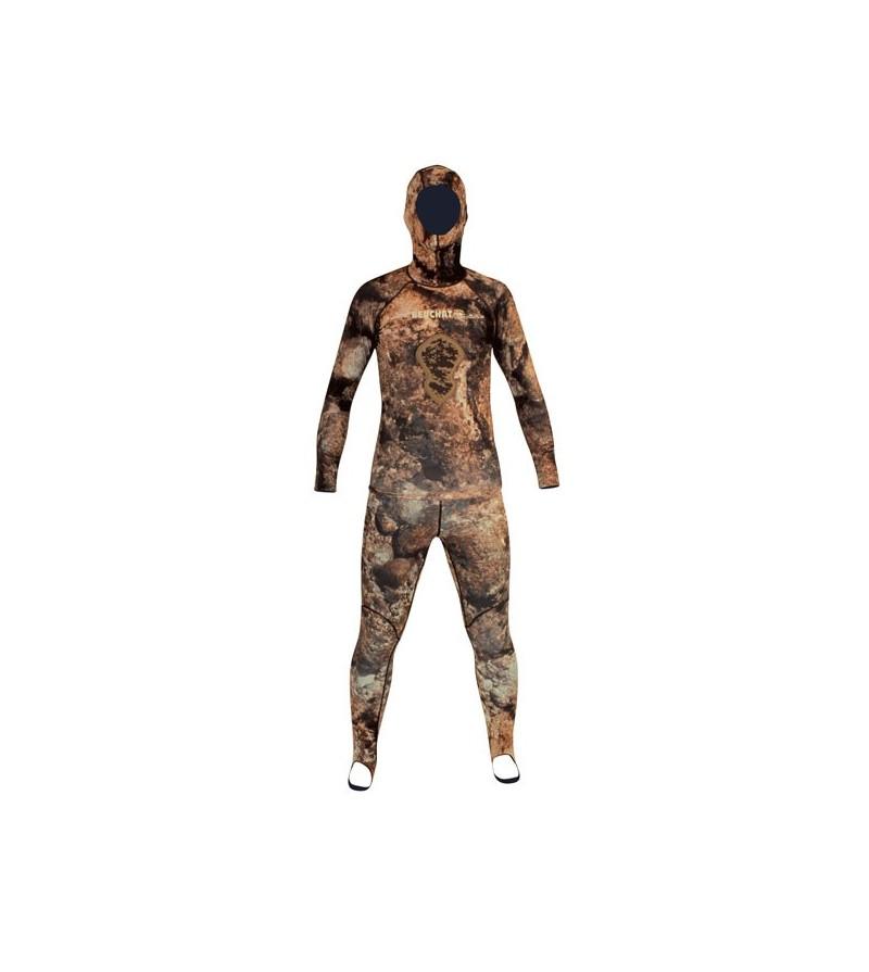 Rashguard camouflage anti-UV Beuchat Rocksea 2 pièces pour l'eau chaude ou sur combi de chasse sous-marine & apnée