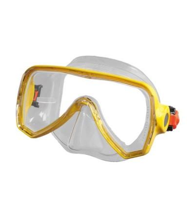 Masque monoverre Beuchat Oceo avec jupe en silicone transparent pour la plongeé et le snorkeling adulte - jaune fluo