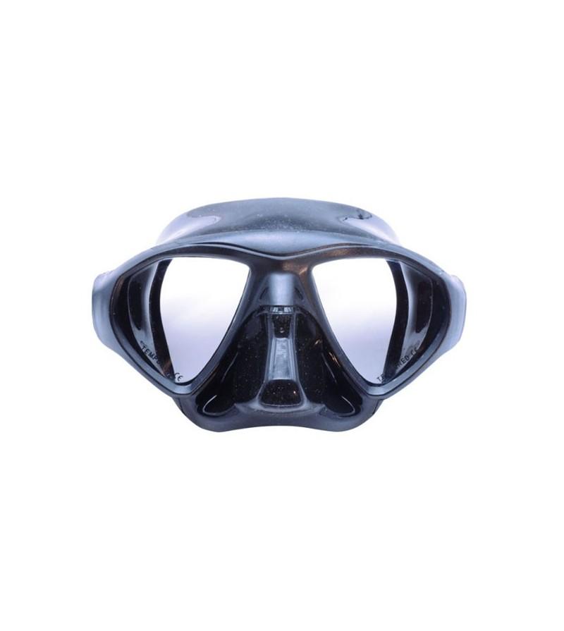 Masque noir à deux verres Dessault Apnea avec petit volume, grand champ de vision pour l'apnée & la chasse sous-marine