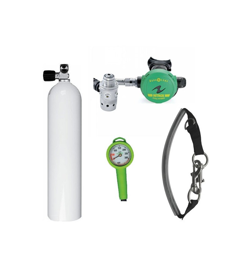 Pack de décompression plongée avec bouteille 7 litres fût aluminium, détendeur Calypso Nitrox, manomètre & sangle de bloc