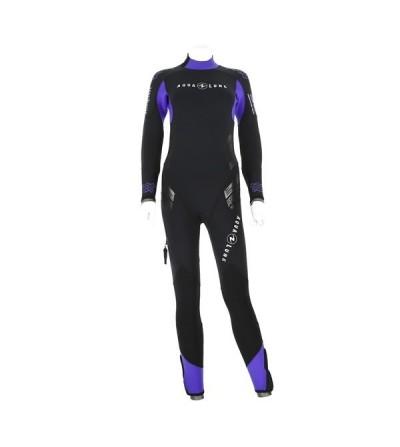 Combinaison Femme monopièce humide de plongée Aqua Lung Balance Comfort néoprène 7mm zip dorsal, sans cagoule & double manchon