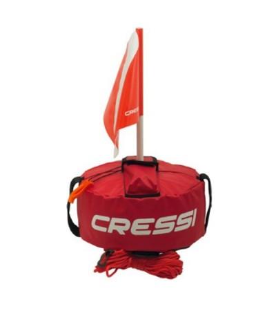 Bouée gonflable rouge Tonda Float Cressi avec double enveloppe en nylon résistant pour la chasse sous-marine & l'apnée