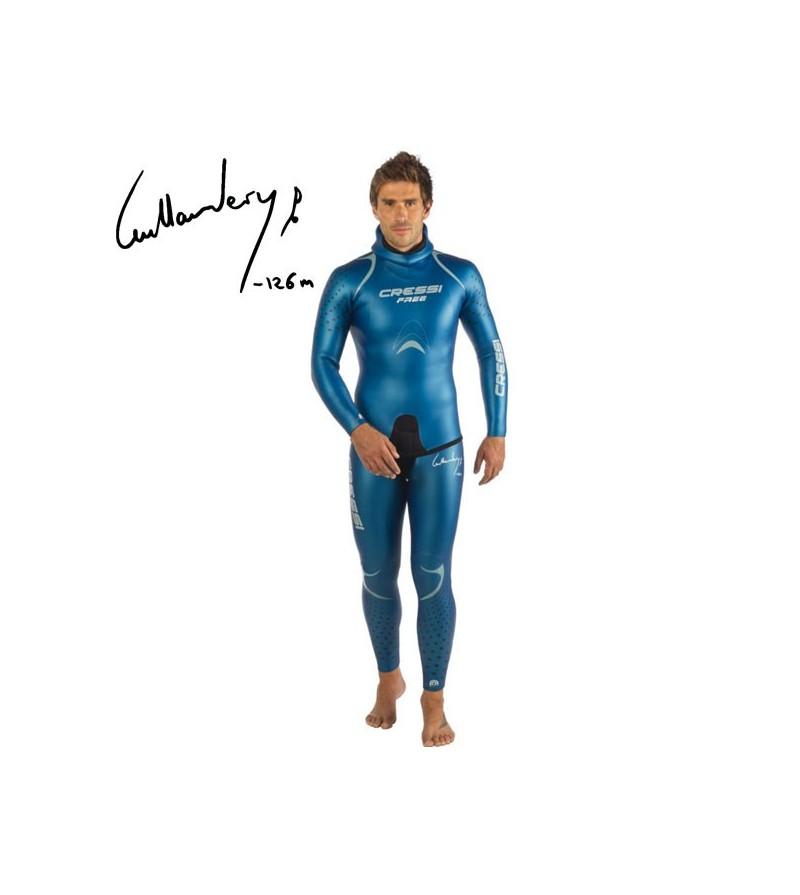 Combinaison veste + pantalon Cressi Free 2017 en néoprène 3.5mm bleu avec patronage spécifique à la pratique de l'apnée