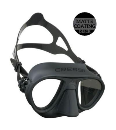 Masque sans cerclage à petit volume Cressi Calibro en silicone mat pour la chasse sous-marine et l'apnée - noir