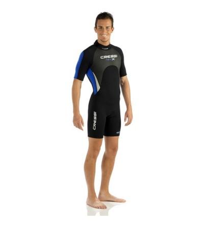 Shorty Homme Cressi Med-X en néoprène 3mm doublé deux faces pour la plongée & le snorkeling en eau chaude