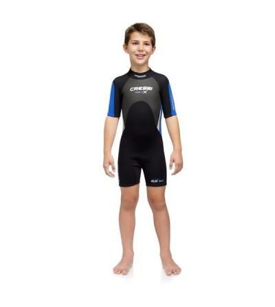 Shorty Enfant Cressi Med-X Junior en néoprène 3mm doublé deux faces pour la plongée & le snorkeling en eau chaude