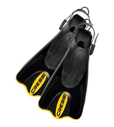 Palmes réglables Cressi Palau SAF courte, légère, facile à enfiler & confortable pour la natation et le snorkeling - noir jaune