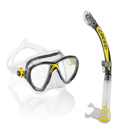 Pack adulte Cressi composé d'un masque Big Eyes Evolution & tuba à soupape Alpha Ultra Dry - Transparent / jaune