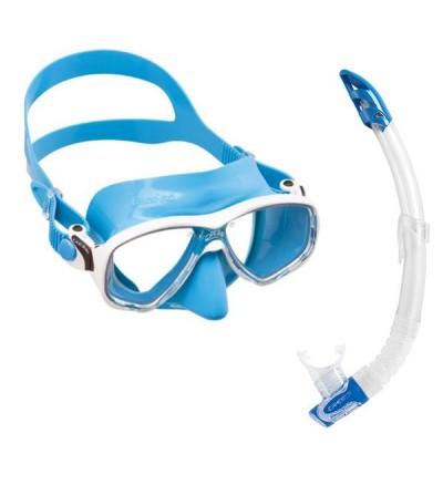 Pack adulte Cressi composé d'un masque Marea avec jupe en silicone coloré & tuba sans soupape Gamma - Bleu