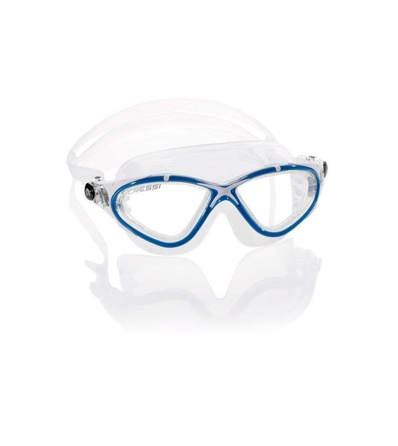 Lunettes de nage Cressi Planet avec jupe en silicone transparent pour la piscine, la mer & le triathlon - blanc/bleu