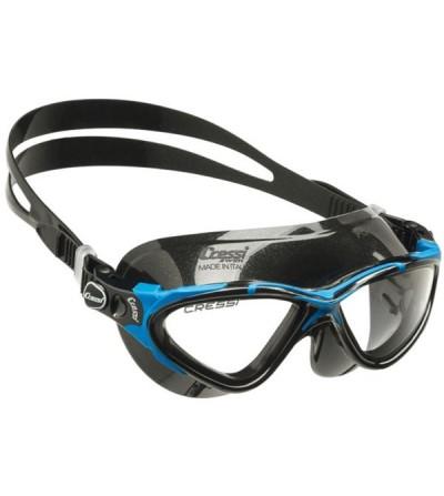 Lunettes de nage Cressi Planet avec jupe en silicone noir pour la piscine, la mer & le triathlon - noir/bleu