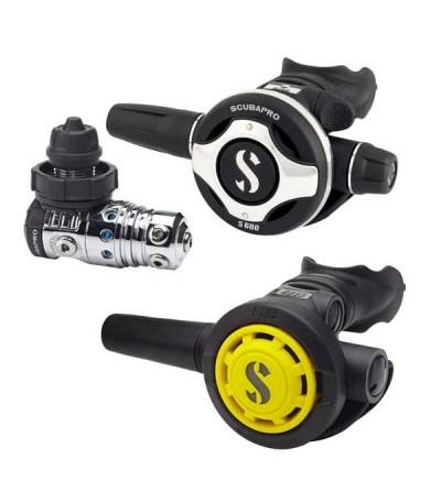 Pack détendeur compensé de plongée Scubapro MK25 EVO/S600 DIN & Octopus R095 pour un usage intensif et une respiration facile