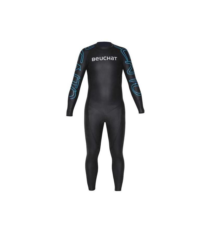 Combinaison Beuchat Zento en néoprène  2mm lisse à l'extérieur pour une meilleure glisse - apnée, nage outdoor, triathlon