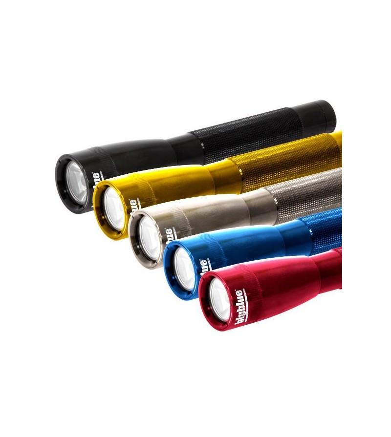 Mini lampe torche étanche à LED bigblue AL250 à piles pour plongée et outdoor - noir, jaune, bleu, rouge, gris