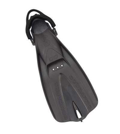 Palmes réglables de plongée Scubapro Go 2017 avec sangle noire. Très solides, confortables même pied nu & adaptées aux voyages
