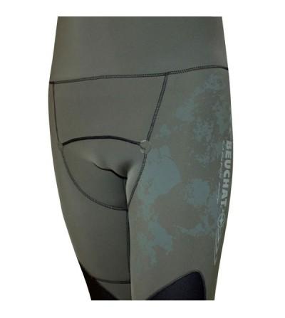 Pantalon pro type salopette Beuchat Espadon Prestige camouflage en néoprène 5mm pour la chasse sous-marine et l'apnée