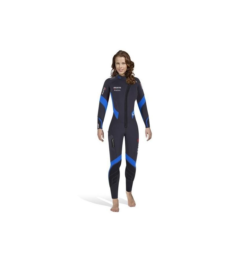 Combinaison humide femme de plongée Mares Flexa 8.6.5mm 2017 en néoprène extensible trilastic & zip frontal pour l'eau froide