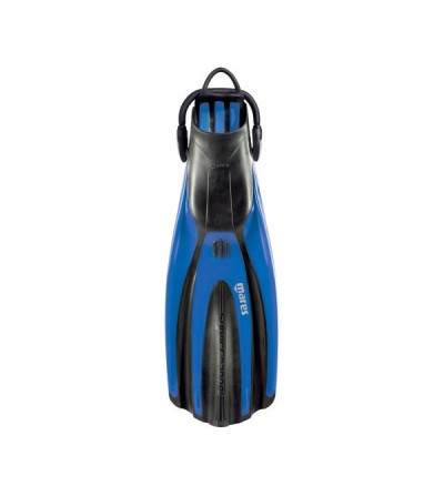 Palmes réglables de plongée Mares Superchannel OH avec sangle bungee, chausson anatomique puissant & efficace - bleu