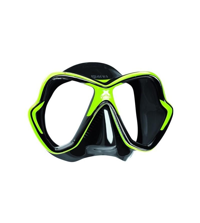 Masque deux verres Mares X-Vision 2017 avec grand champ de vision pour la plongée & le snorkeling - noir / vert