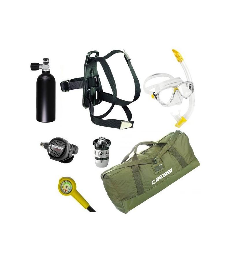 Pack de plongée d'urgence pour la plaisance avec bloc 1.5 litres, harnais, manomètre, détendeur, masque et tuba, sac jungle