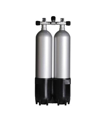 Bi-bouteille de plongée Roth composée de 2 blocs acier 232 bars de 7.5 litres de couleur grise