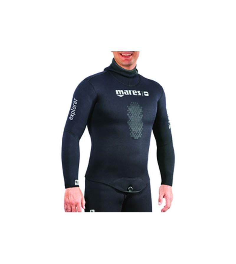 Veste de combinaison Explorer 30 en néoprène refendu 3mm noir Mares Pure Instinct pour la chasse sous-marine et l'apnée