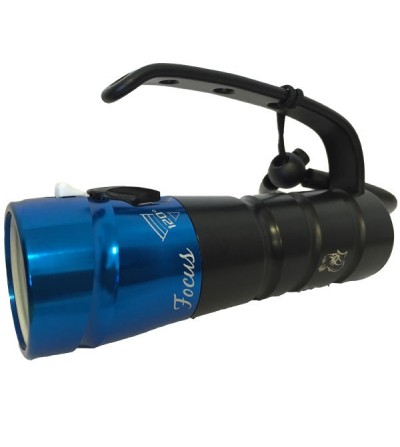 Phare de plongée à LED Bersub Focus 2/6 à piles LR6-AA montées dans un coupleur pour la photo, la vidéo et l'exploration - bleu