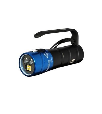 Phare de plongée à LED Bersub Focus 2/6 à accu Lithium-ion et mode fluo pour la photo, la vidéo et l'exploration de nuit