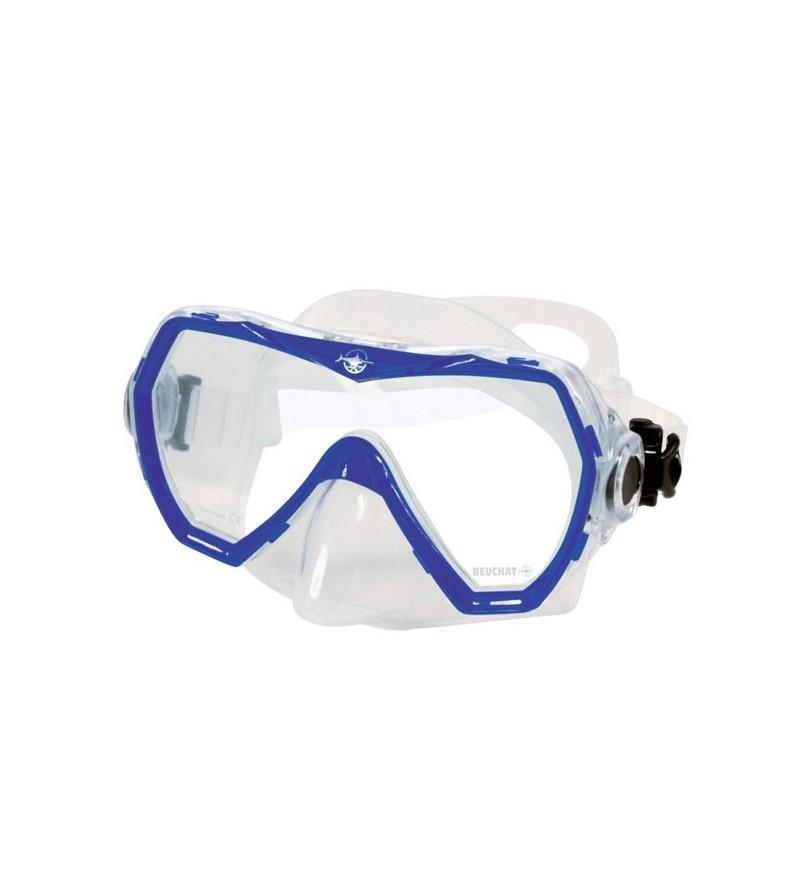 Masque Monoverre Beuchat Corso avec jupe en silicone & grand champ de vision pour la plongée et le snorkeling - bleu ultra