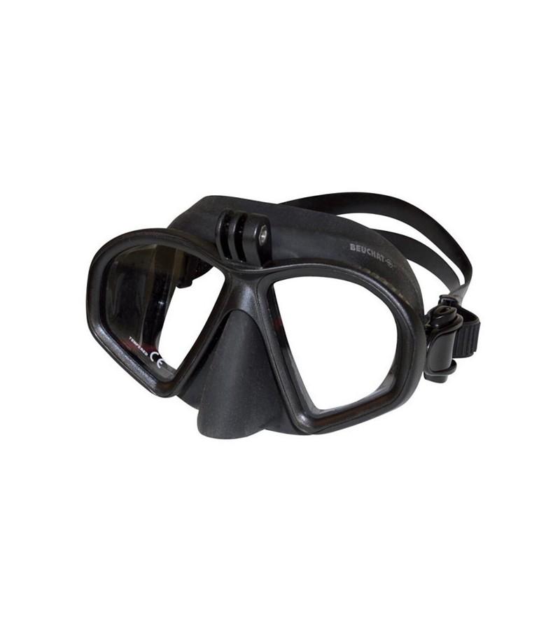 Masque Beuchat GP1 noir avec support caméra pour la chasse sous-marine, la plongée, l'apnée & le snorkeling