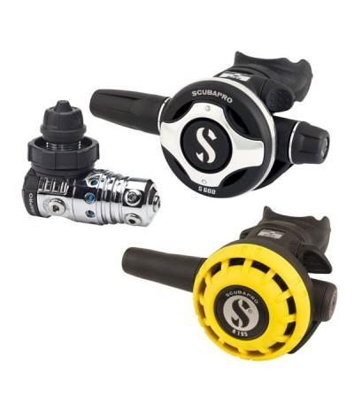 Pack détendeur compensé de plongée Scubapro MK25 EVO/S600 DIN & Octopus R195 pour un usage intensif et une respiration facile