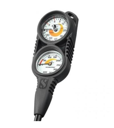 Console compacte Scubapro avec manomètre 400 bars et profondimètre à air 70 mètres - 2 instruments essentiels en un
