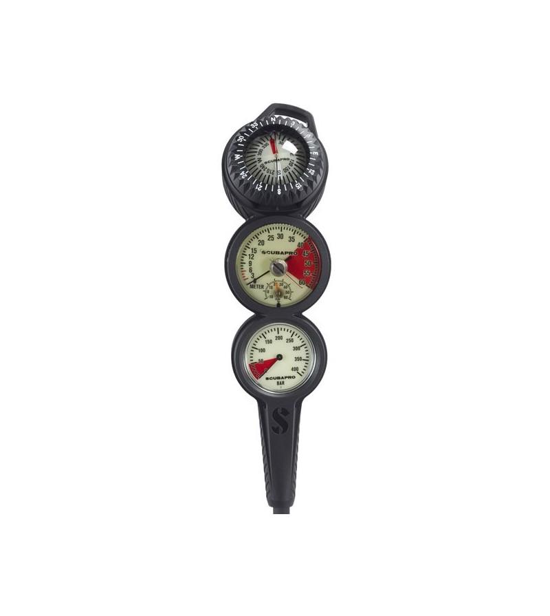 Console Scubapro 3 instruments avec manomètre 400 bars, profondimètre analogique à huile 60 mètres & compas FS2
