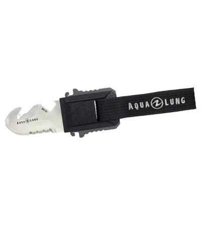 Petit couteau de plongée Aqualung Micro Squeeze avec lame blunt tip se fixant sur la poche d'un gilet ou sur sangles