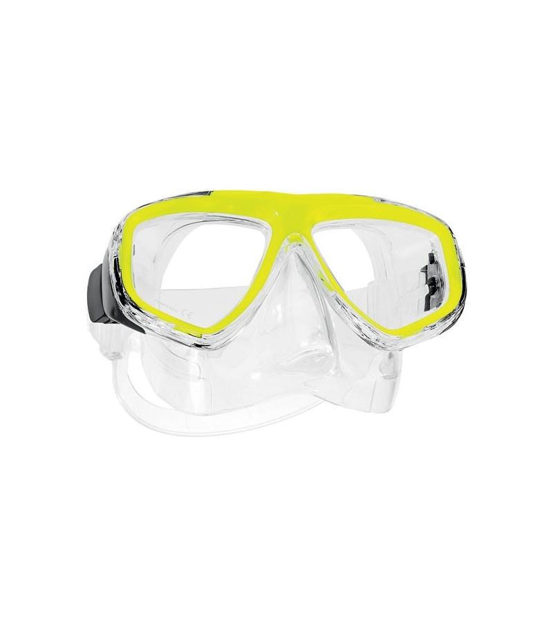 Masque deux verres Scubapro Ecco avec jupe en silicone pour la plongée et le snorkeling sans se ruiner - jaune neon