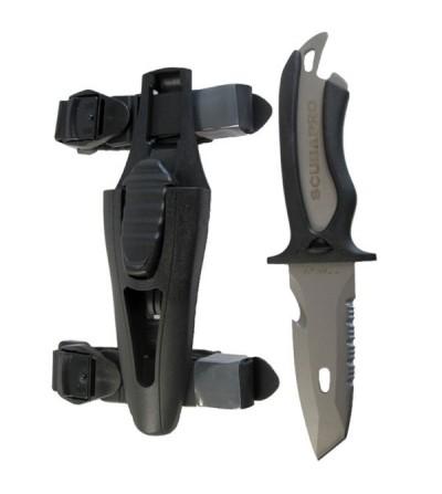 Petit couteau Scubapro Mako à lame en Titanium durci de 8.5cm à double tranchant pour la plongée. Etui à déverrouillage facile