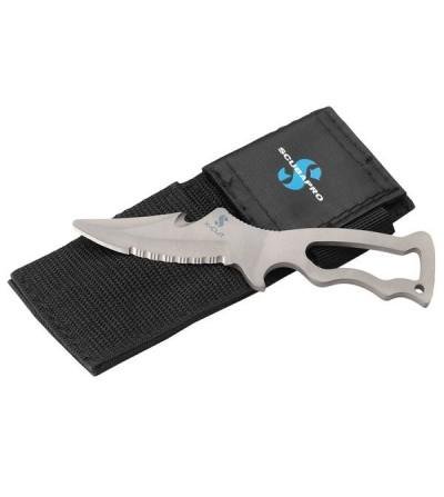 Petit couteau Scubapro X-Cut multifonction monopièce avec lame en Titanium trempé de 6.3cm à double tranchant pour la plongée