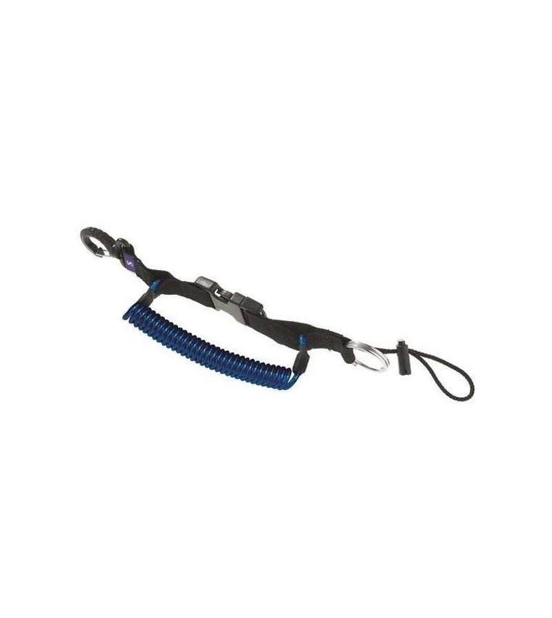 Dragonne rétractable XL Scubapro avec clip de verrouillage, anneau inox & mousqueton pour appareil photo/lampe