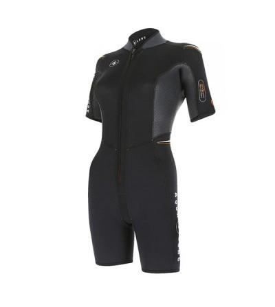 Combinaison Shorty femme avec cagoule Aqua Lung Dive en néoprène 4mm sans pétrole pour la plongée & snorkeling en eau chaude