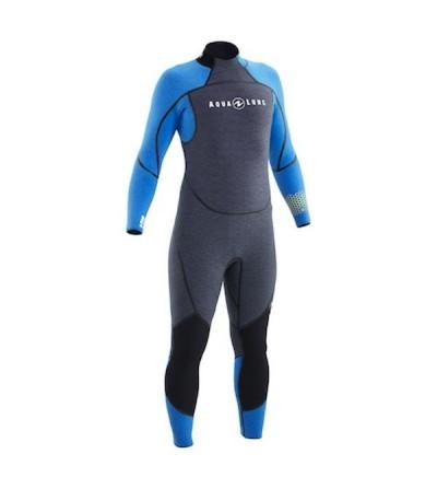 Combinaison Homme monopièce humide de plongée Aqua Lung Aquaflex en néoprène 5mm ultra-souple, zip dorsal, sans cagoule