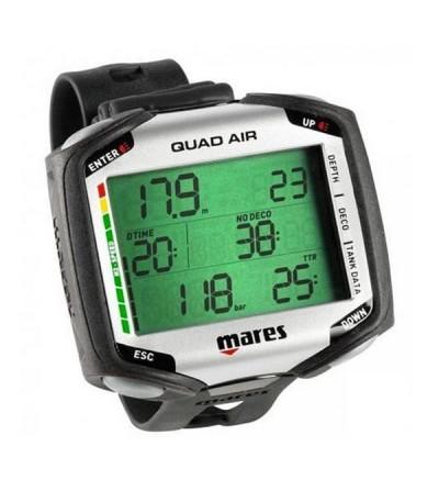 Ordinateur de poignet Mares Quad Air à gestion d'air pour la plongée en eau douce ou salée à l'air, nitrox ou multigaz - noir