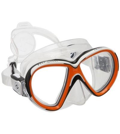 Masque de plongée bi-verre Aqua Lung Reveal avec jupe extra-souple pour un ajustement et un confort maximal - transp orange
