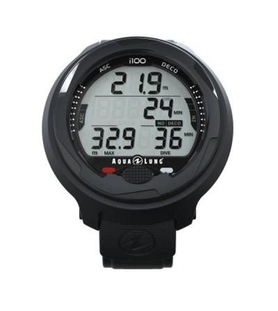 Ordinateur poignet de plongée Aqua Lung i100 multi-gaz, simple, mode apnée, air, nitrox, eau douce ou salée - noir