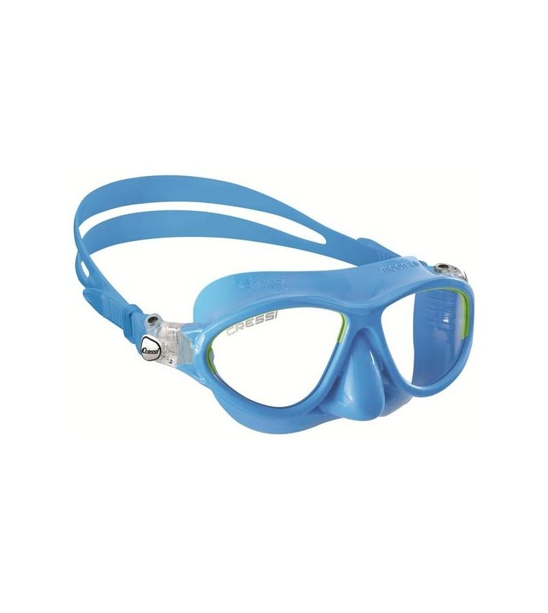Masque à deux verres Cressi Moon Kid aux dimensions adaptées aux enfants de 7 à 15 ans - bleu / lime