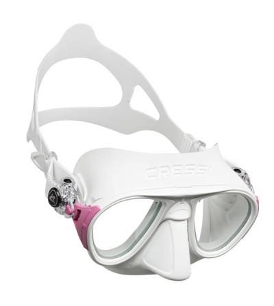 Masque sans cerclage à petit volume Cressi Calibro en silicone  avec système anti-buée - blanc rose
