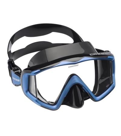 Masque monoverre Cressi Liberty Triside à vision panoramique pour une sensation de liberté en plongée et snorkeling - noir bleu