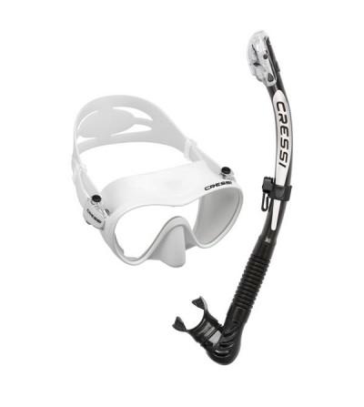 Pack adulte Cressi composé d'un masque F1 à petit volume & tuba à soupape Alpha Ultra Dry pour la plongée, le snorkeling - blanc