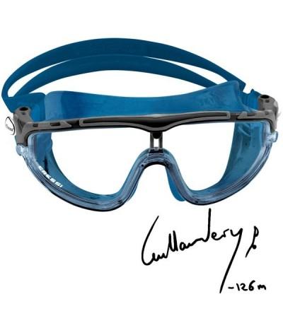 Lunettes masque de nage mono-verre Cressi Skylight à large champ de vision & vitre anti-UV, anti-buée, anti-rayures - Bleu Nery